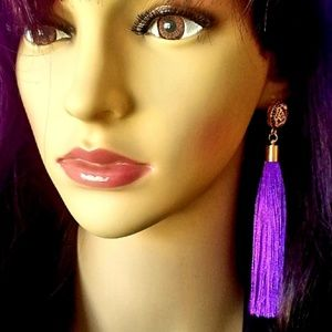 TASSLE Purple and Gold Earrings by Vivid Rose